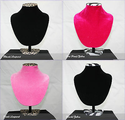 """2 PCs 11.5"""" Necklace Bust Jewelry Hard Display Stand Black Velvet"""