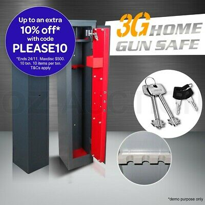 3 Rifle Storage Gun Safe Firearm Lock Box Lockbox Steel Heavy Duty Cabinet Bonus