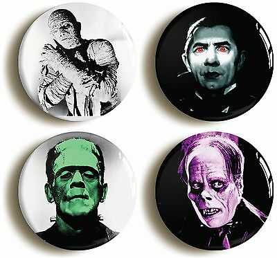 4 x HORROR HOLLYWOOD THIRTIES B-MOVIE BADGES BUTTONS PINS DRACULA FRANKENSTEIN