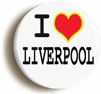 I HEART LOVE LIVERPOOL BADGE BUTTON PIN (1inch/25mm diameter)