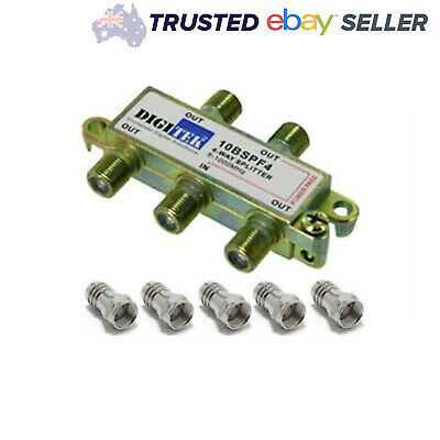 4 Way TV Splitter with 5 F Type Connectors Foxtel Antenna Television