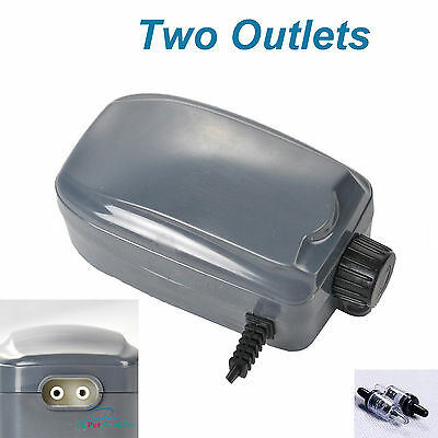 Air Pump Two Outlets Adjustable Upto 120 Gallon Aquarium 48GPH FREE Check Valves