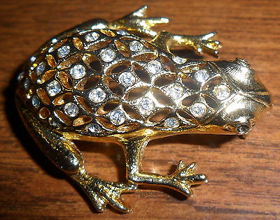 NIce Gold Toned & Rhinestone Frog Brooch Green eyed LOOK!