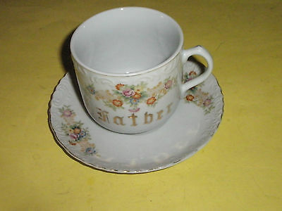 "Antique ""Father Mug"" With Saucer Made in Occupied Japan"