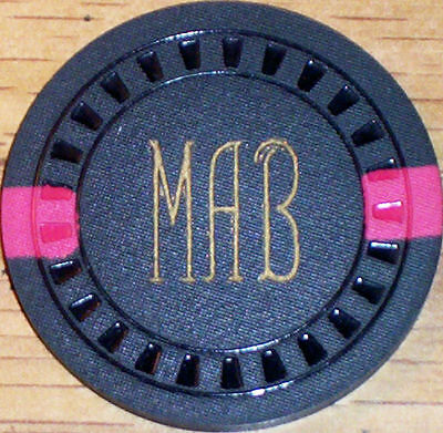 Old $5 MAB CARD ROOM Casino Poker Chip Vintage Antique Hub Mold Roseville CA 60s