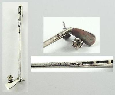 Vintage Sterling Silver Figural Golf Club & Ball Pin set with Rhinestones