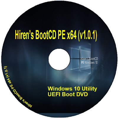 Hiren's BootCD PE x64 (v1.0.1) Windows 10 Repair Diagnose PC Laptop on DVD