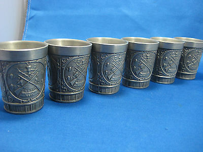 Lot of 6  Antique German Embossed  Pewter Feinzinn Shooters/ Cups Engraved Nice