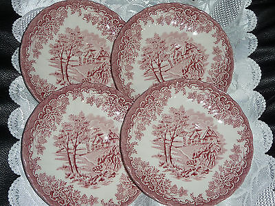 Churchill  Staffordshire England Cottage Scene  4 Saucers