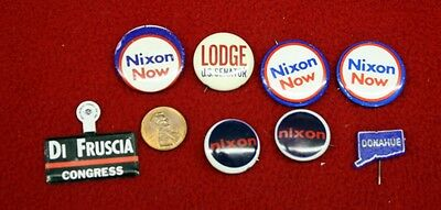 3069) Lot of 8 Old Political Campaign Buttons Nixon Donahue DiFruscia Badge Pins