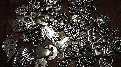 GRaB BaG LoT ~ HeARTs OnLy ~ 12 PiEcEs ~ MiXeD ThEMe SiLvER ChArMs PeNdAnTs
