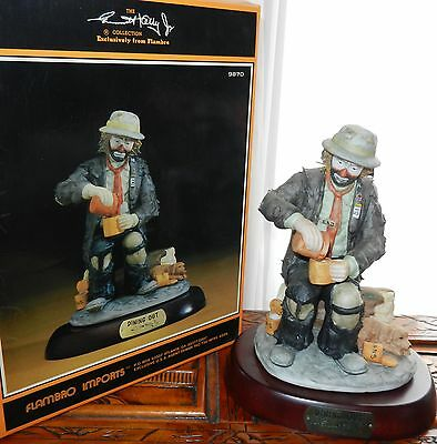 """1987 Emmett Kelly """"DINING OUT"""" FIGURINE FLAMBRO SIGNATURE LIMITED EDITION w/Box"""