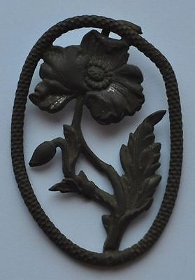19th Century Russia Antique Relic Copper Flower Brooch or Pendant Decoration