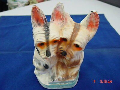 Vintage Chalkware Staue Figurine Scotty Dogs Terrier Very Old Carnival