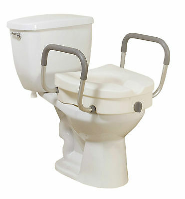 Elevating Toilet Seat, Locking, Removable Arms, Lid, Tool Free, 2 in 1, Easy Use