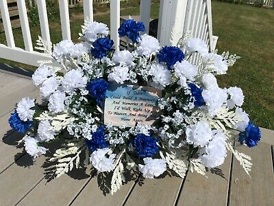 Cemetery Memorial Flower Blue Fathers Day Carnations Babys Breath Funeral Floral