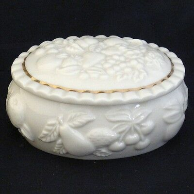 Lenox Oblong Shaped Trinket Box With Embossed Fruit Around Edge And Top