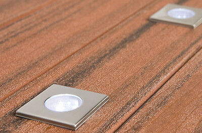 New Mercator Seattle 5 Pack Stainless Steel Led Deck Lights Square Ip44 Rated 3W