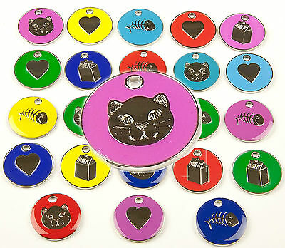 Cat Dog Tag, Quality 20mm PET ID Tags, 9 Colours & Designs + ENGRAVING OPTIONS