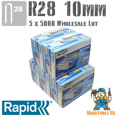 5x 5000 Rapid R28 10mm Cable Staples for R28, Arrow T18, Rapesco CT45  WHOLESALE