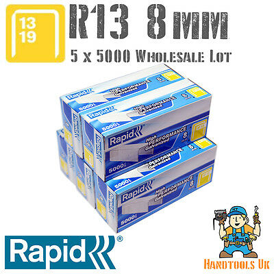 5 x 5000 Rapid R13 8mm Galvanised Steel Staples Bulk Pack for WHOLESALE