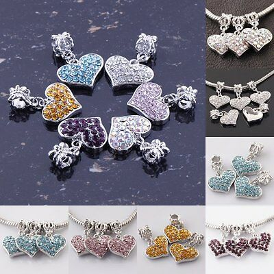 Lots 10/20X Silver Plated Colorful Crystal CZ Heart Pendant Fit Bracelet