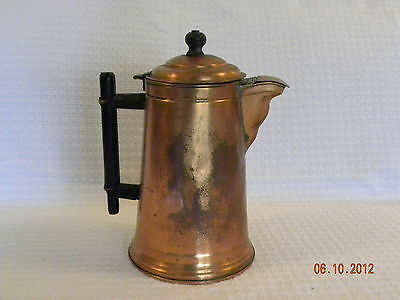 Beautiful Antique Copper Coffee Pot with Wood Handle and Brass Spout Cover