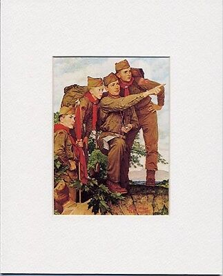 Norman Rockwell Boy Scout Print POINTING THE WAY 1962