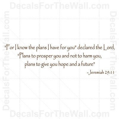 For I Know the Plans I Have for You Jeremiah 29:11 God Wall Decal Vinyl Art R42
