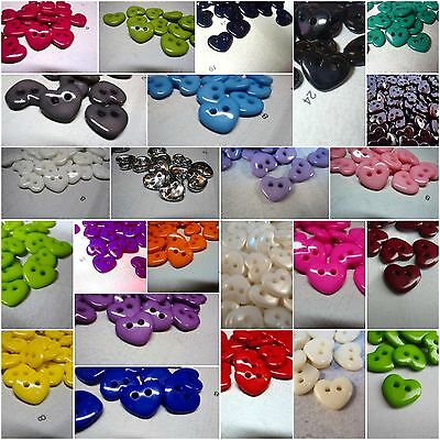 !!DIFFERENT COLOURS!! 10pcs CUTE HEART BABY 2 HOLE PLASTIC ITALIAN BUTTONS 13mm