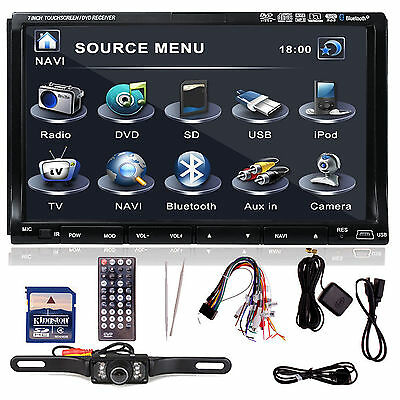 """Sony Lens GPS+MAP+Cam-Double 2Din In Dash 7"""" Car Stereo DVD Player Radio BT iPod"""