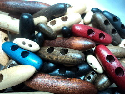 5 x SPECIAL WOODEN BEECH TOGGLE ITALIAN BUTTONS 60mm-W3 RED NATURAL AND OTHERS
