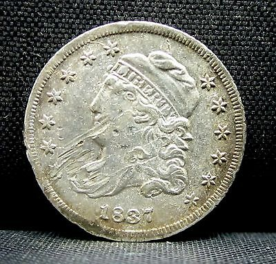 1837 Capped Bust 1/2 Half Dime ✪ Au Almost Uncirculated ✪ Damaged ◢Trusted◣