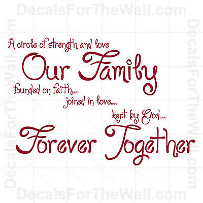 A Circle Of Strength And Love Our Family Faith Vinyl Wall Decal Art