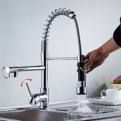 AU Pull out Chrome spray swivel mixer tap faucet kitchen bathroom basin sink