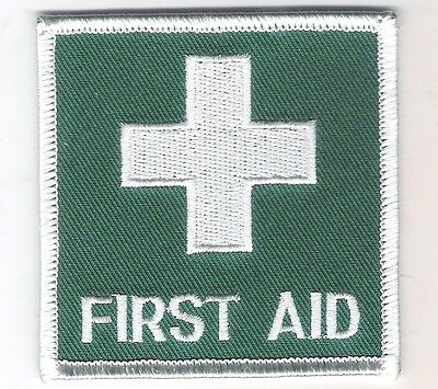 FIRST AID Medical Embroidered Badge / Patch NEW Iron On Or Sew On 70mm x 70mm