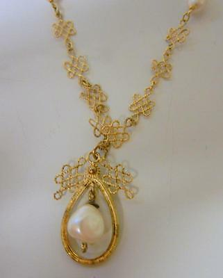 Antique Chinese Gold Over Sterling Silver Knotted Knot Pearl Amulet Necklace