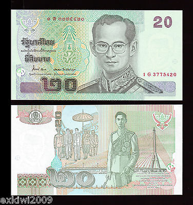 Thailand 20 Baht 2012 P-New Mint UNC Uncirculated Banknotes