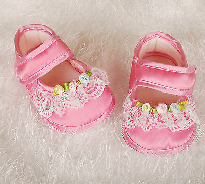 New Baby Girls Satin Christening Shoes in Ivory, Pink from Newborn to 3-6 Months