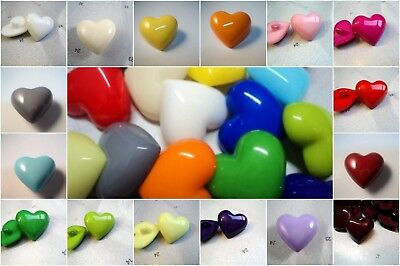 5 LARGE SELECTION OF COLOURS HEART SHANKED BIG ITALIAN PLASTIC BUTTONS 24mm-C223