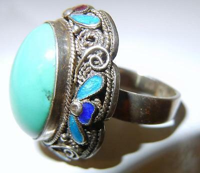 Antique Chinese Turquoise Enamel Sterling Silver Ring Size 9
