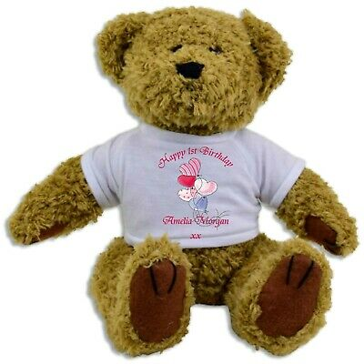 Personalised Happy 1st Birthday Teddy Bear or Rabbit - Lovely Gift for any Age