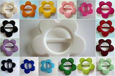 2pcs LARGE FLOWER ITALIAN BUCKLE RIBBON SLIDER 20mm- HUGE SELECTION OF COLOUR