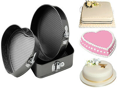 Set Of 3 Springform Non Stick Loose Base Cake Tins Heart Round & Square Shaped