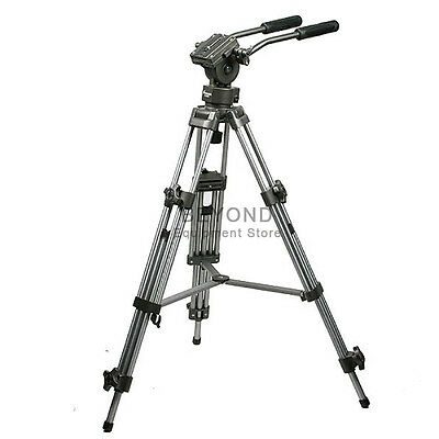 Professional Heavy Duty Camera Tripod Pro DLSR Stand with Fluid Drag Pan Head
