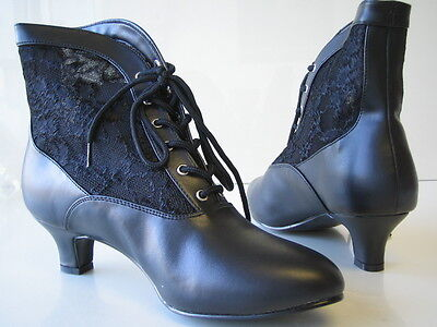 Womens Victorian Granny Lace Ankle Boots Western Saloon Girl Costume Boots Shoes