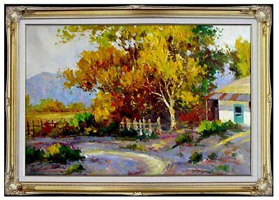 Framed Hand Painted Oil Painting, Countryside Scenery w/ Path & Cottage 24x36in