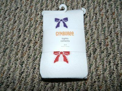 NWT Gymboree Winter Penguin Ivory Bow Tights 3 4