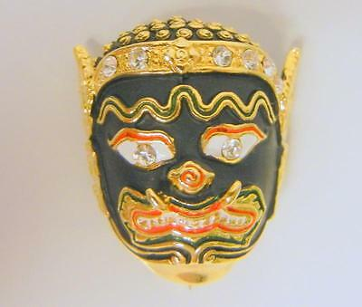 Vintage Asian Oriental Mask Rhinestones Enamel Pin Brooch