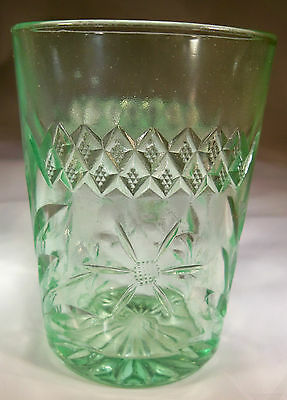 """U.s. Glass Co. Floral & Diamond Band Vaseline Green 4"""" Tall Water Tumbler!"""